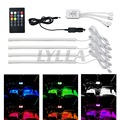 12 V Coche LED RGB Tira de Luz LED Tira de Control de Música Ambiente Lámparas luces 8 Colores Car-Styling Car Light Interior Con remoto