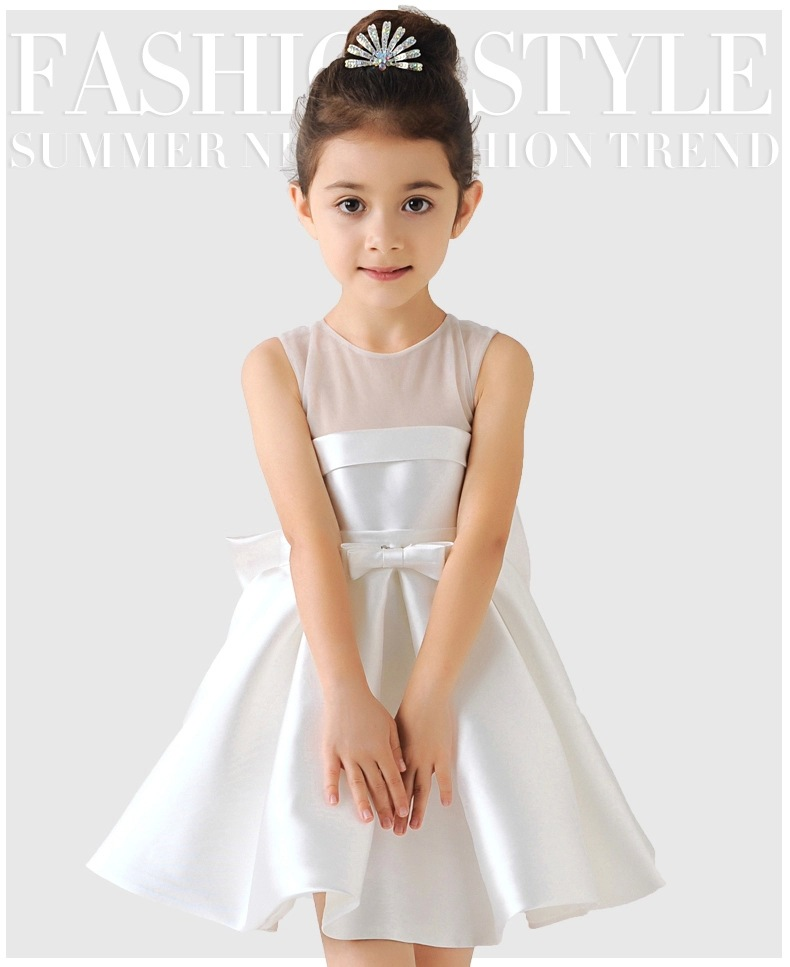 df5c6e1deff28 Elegant Satin Flower Girl Dresses Big Bow Party Pageant Dress for Wedding  Birthday Little Girls Ball Gown 3 color 2-12Y