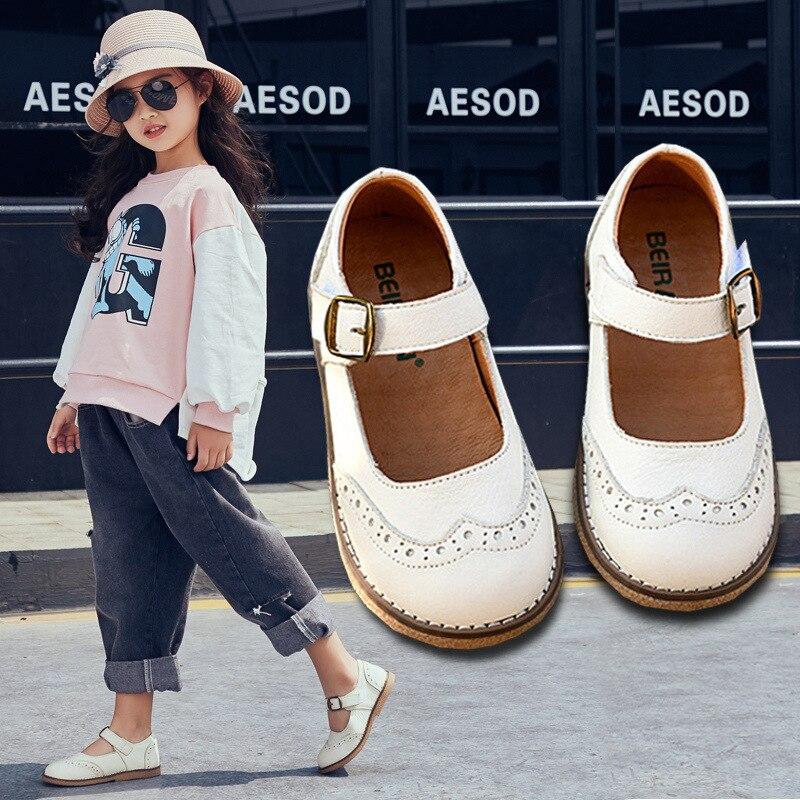 Retro Girl Sandals Genuine Leather Princess Shoes Fashion Kids Single Shoes Children Sandals