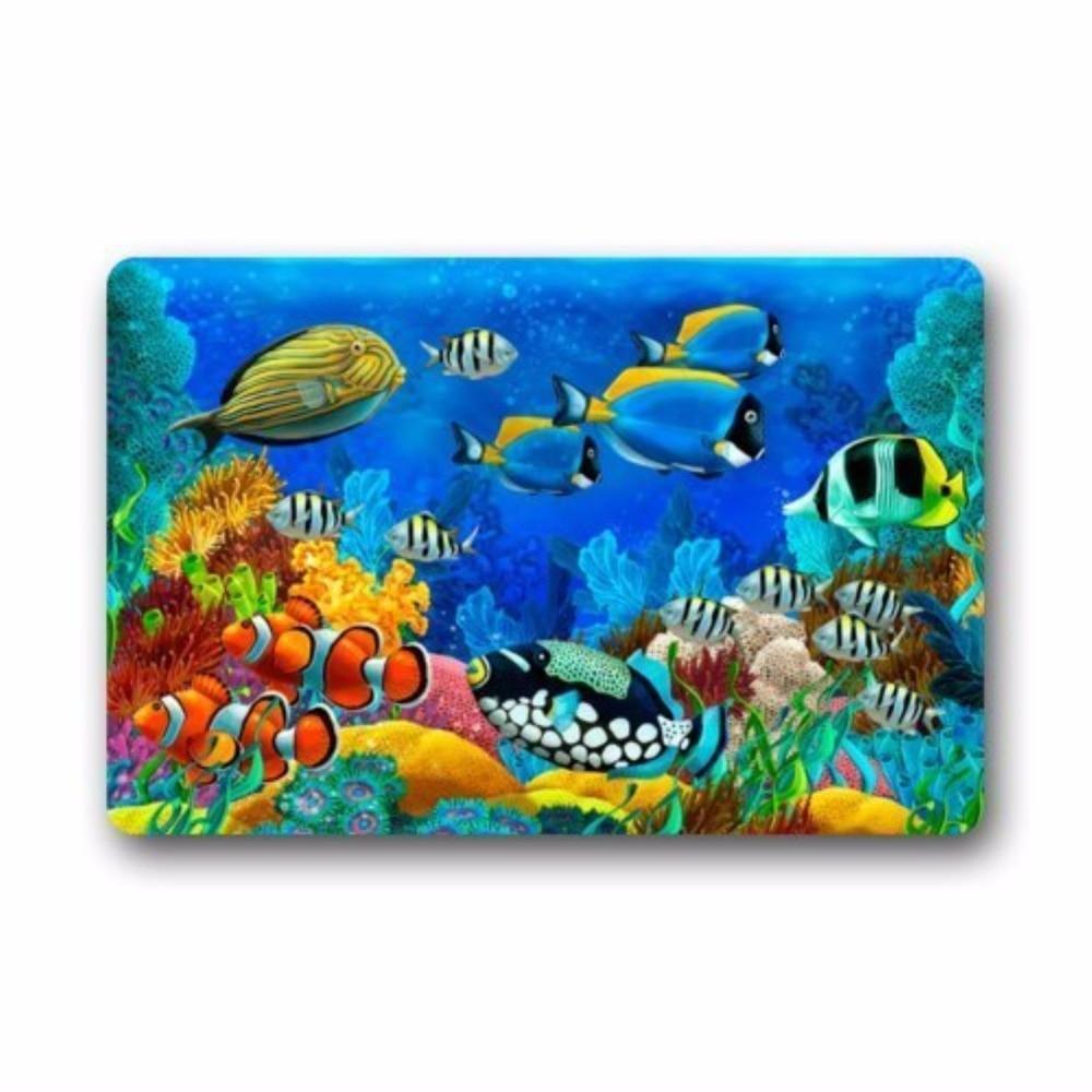 Colorful Tropical Fishes Coral Swim in the Deep Ocean Art Floor Mat Doormat Mat 23 6 quot L x 15 7 quot W Dirt Buster in Mat from Home amp Garden
