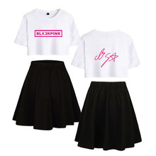 Olevo New Arrival Summer Black Pink Navel T-shirt Skirt Sports Suit Short Sleeve & Skirts Sets For Women Girls Tops Sweetwear(China)