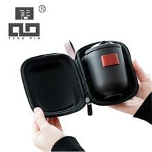 цена на TANGPIN black ceramic teapot tea cups a tea set portable travel tea sets with travel bag