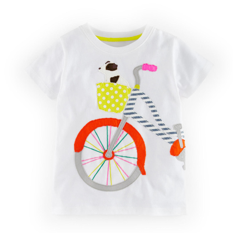 2016 Special Offer Fashion Style Summer Childrens Baby Boys Girls T-Shirt Cartoon Bicycle Puppy Boy T-Shirt Kids Tops Tees 2-7Y