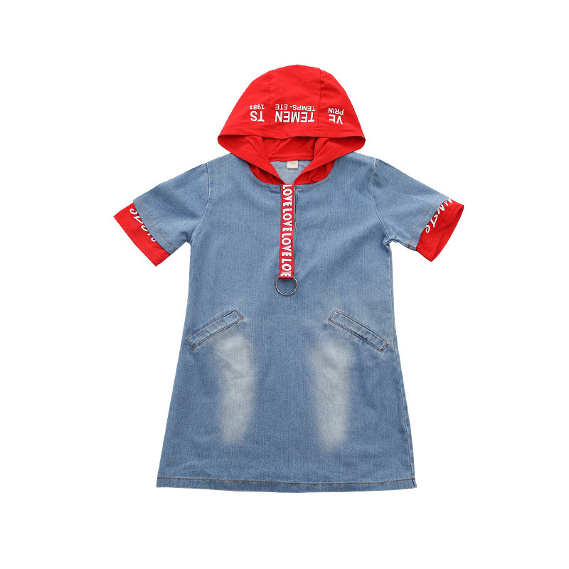 2018 Rlyaeiz Kids Dress For Girls 2018 Children Chothing Short Sleeve Hoodies Janes Dresses Clothes Patchwork Hooded Denim Dress