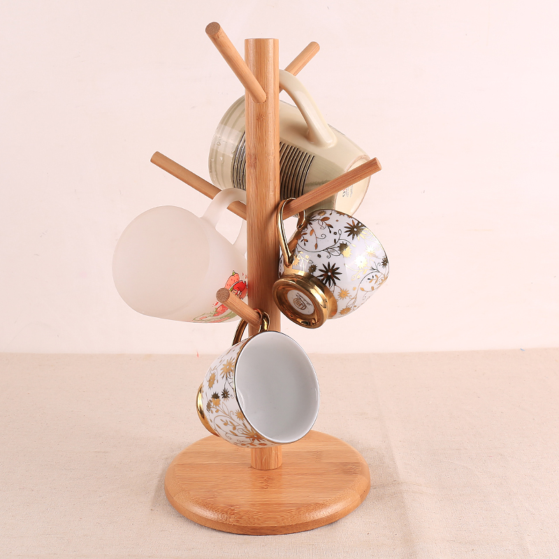 New Beech Wood tea drink mug stand storage rack coffee cup holder with 6 hooks Home Storage And Organization