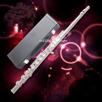 Flute Silver Plated 16 Holes C Key Cupronickel Musical Instrument with Cleaning Cloth Stick Gloves Screwdriver
