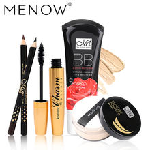 MENOW Brand Wholesale Make up set Golden tubes thick mascara Set With Gift Two Pencil Banana Oil Loose Powder Rose BB Cream5355(China)