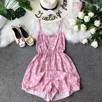 Nicemix Women Rompers Floral Print Jumpsuit Summer Short Pleated Overalls Jumpsuit Female Chest Wrapped Strapless Playsuit