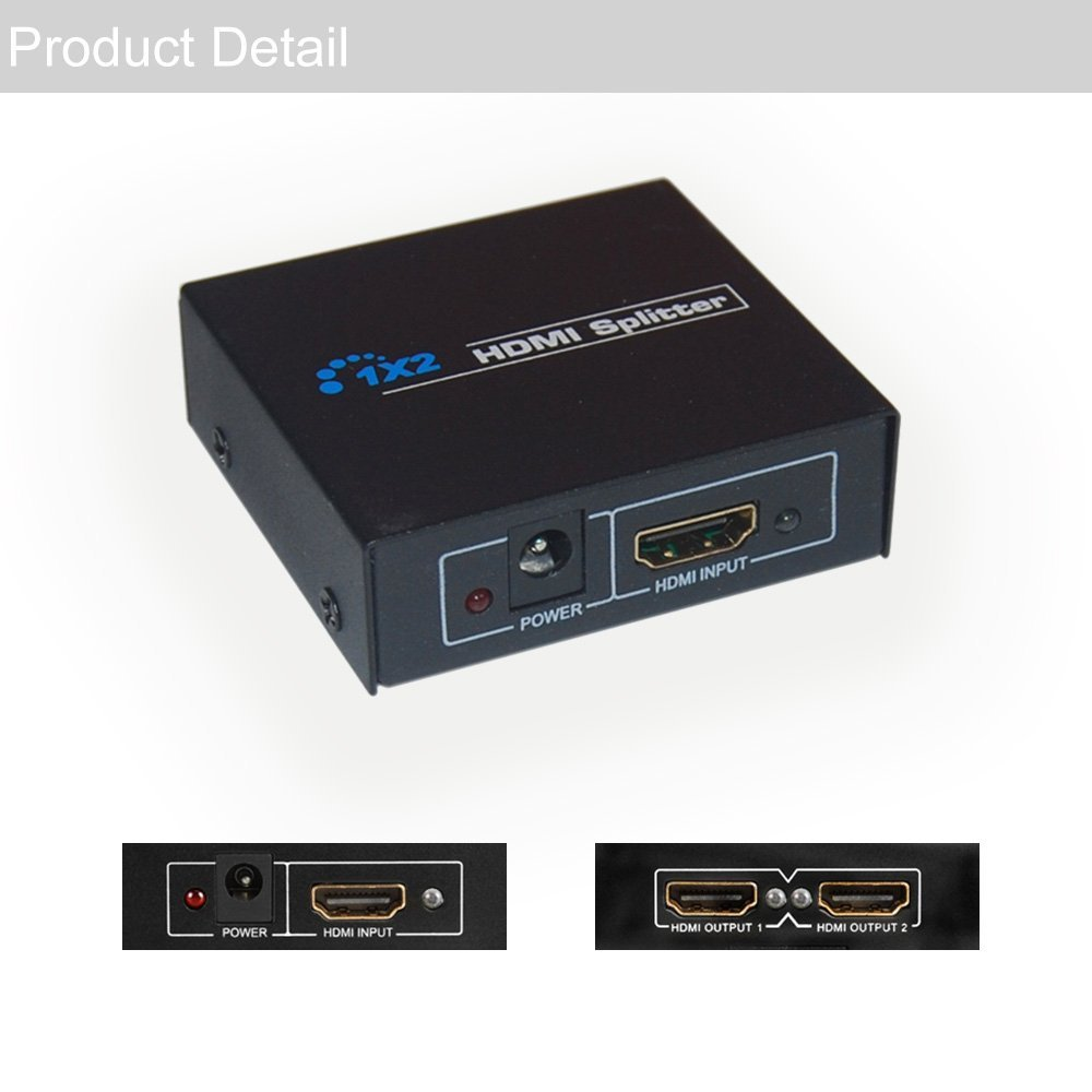 HDCP HDMI Splitter 1X2 Full HD 1080p Video HDMI Switch Switcher Split 1 in 2 Out Amplifier Dual Display For HDTV DVD PS3 Xbox