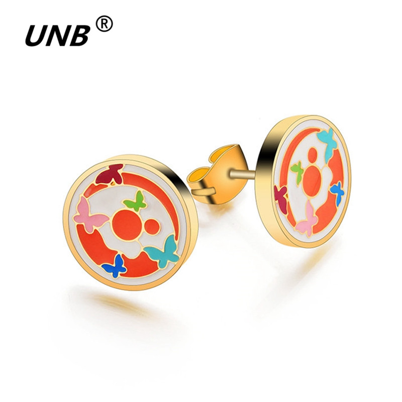 UNB Fashion Charming Shell Jewelry Stainless Steel Earrings For Women Gold-Color Colors Insect Double Butterfly Stud Earrings