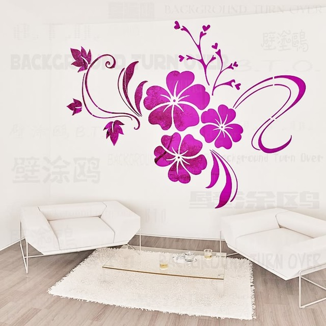 Online Shop Hot sell DIY spring nature hibiscus flower mirror ...