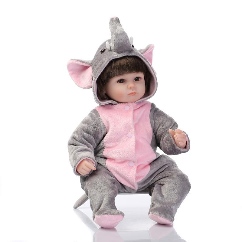 17inch Kawaii Elephant Cloth Doll Soft Silicone Reborn Baby Dolls 45cm Newborn Lifelike Baby Doll Toys  For Kids Gift free drop shipping 2017 newest europe hot sales fashion brand gt watch high quality men women gifts silicone sports wristwatch