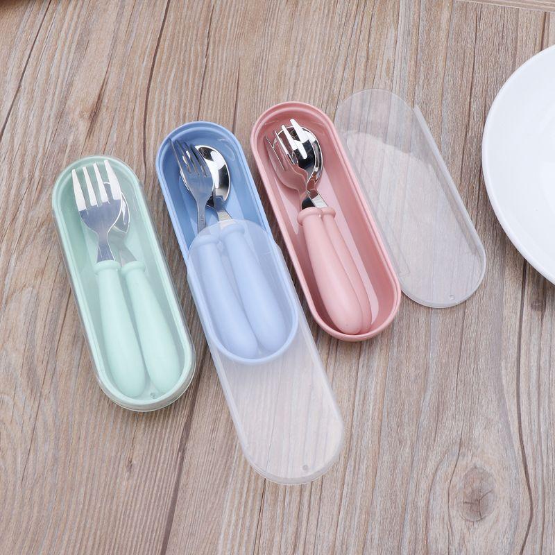 2pcs/lot Baby Feeding Spoon Fork Set Stainless Steel Toddler Infant Tableware Flatware Kids Cutlery rust resistance Dinnerware