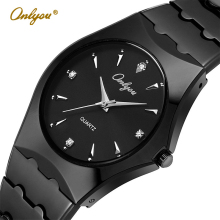 Onlyou Top Luxury Brand Silver Watches For Men Business Stainless Steel Quartz Watch Fashion Dress Watch Male Black Clock 8677