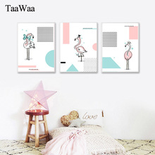 TaaWaa Pink Flamingo Simple lines Posters and Prints Cuadros Decoracion Minimalist Abstract Painting For Living Room Decoration