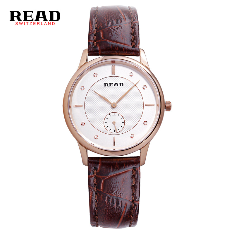 READ brand 2017 new fashion Luxury Wrist watches for women Female Clock Quartz watch brown leather strap 6025 zegarki damskie punk jewelry rome scale women watches quartz watch luxury brand genuine leather band bangle montre skull cat zegarki damskie