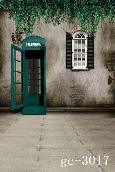 US $31 14 18% OFF|8x15FT Green Branch Bricks Wall Telephone Box Booth  Window Yard Custom Photography Backgrounds Studio Backdrops Vinyl 8x12  10x20-in