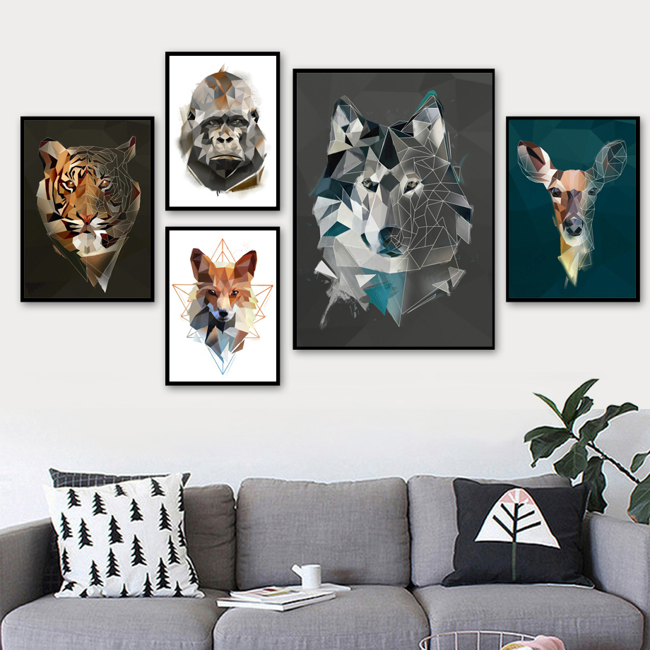 Geometry Fox Deer Wolf Tiger Eagle Wall Art Canvas Painting Nordic Posters And Print Animal Wall Pictures For Living Room Decor