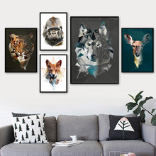 Geometry Fox Deer Wolf Tiger Eagle Wall Art Canvas Painting Nordic Posters And Print Animal Pictures For Living Room Decor