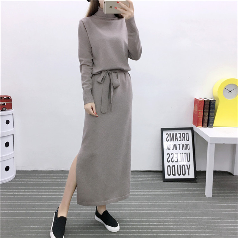 2017 High Quality Turtleneck Knit Package Hip Dresses Maxi Knit Bottoming Autumn/Winter Women Robe Solid Sweater Dress TT3008