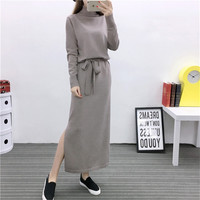 2017 High Quality Turtleneck Knit Package Hip Dresses Maxi Knit Bottoming Autumn Winter Women Robe Solid