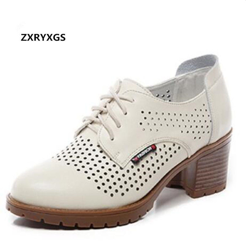 2019 New Lace up Spring Summer Hollow Genuine Leather Shoes Woman Sandals Fashion Soft Bottom Non