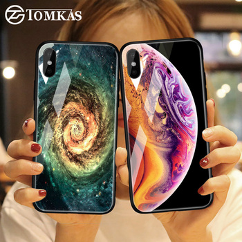 TOMKAS Tempered Glass Case For iPhone XS Max XR XS Silicone Stars Space Cover Phone Case For iPhone X 10 XS XR Luxury Cases TPU