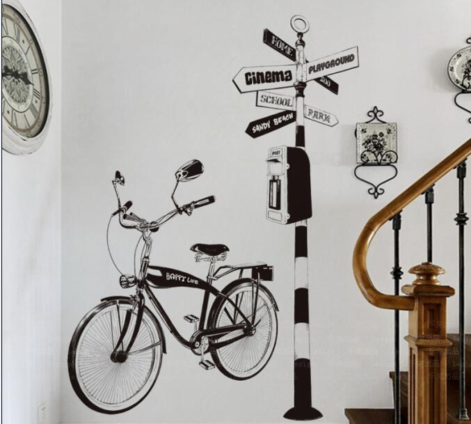 DIY living room sofa background decoration hand-painted bicycle wall sticker personalized wall art picture home decorationDIY living room sofa background decoration hand-painted bicycle wall sticker personalized wall art picture home decoration