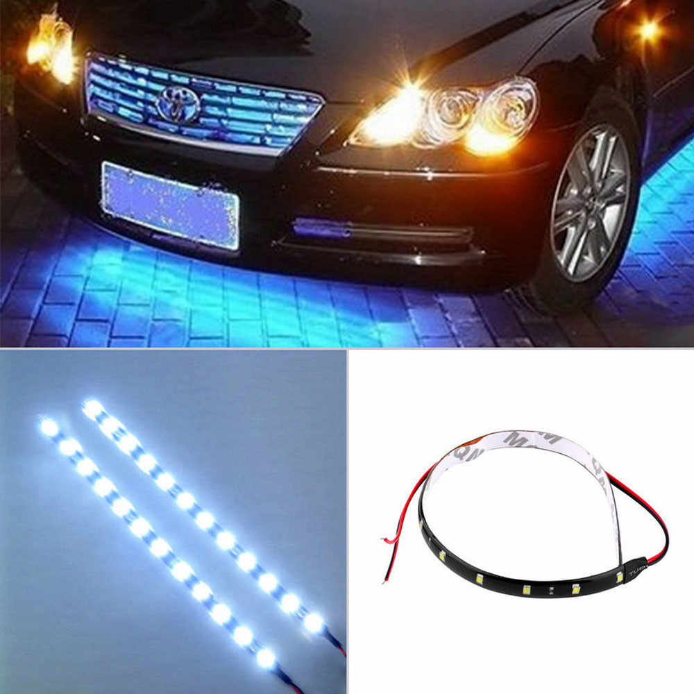 Car Light Blue  30CM/15 LED Car Auto Motorcycle Truck Flexible Strip Light Lamp Waterproof 12V For Car outdoor and indoor @011