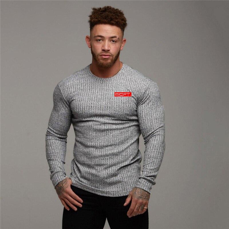Muscleguys 2019 Outono pullover camisola dos homens da marca de tricô de manga longa O-pescoço camisola dos homens Slim fit moda roupas de fitness