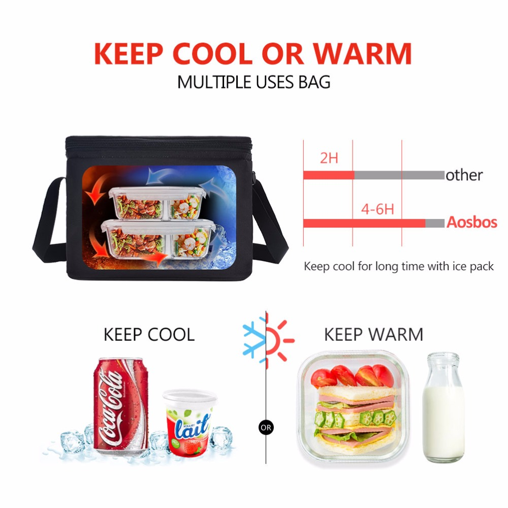 b7dabefa322b Aosbos Portable Thermal Lunch Bags for Women Kids Men Multifunction ...