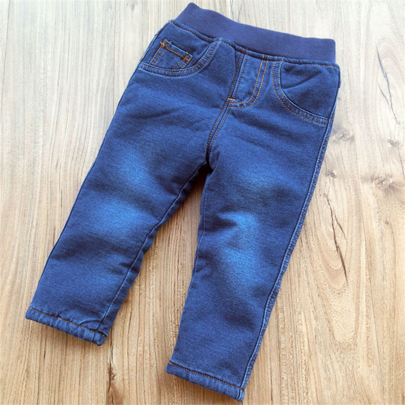 2019 Winter Baby Boys Warm Jeans Children New Casual High Quality Thicken Plus Velvet Straight Denim Pants For Boys Pants 1-6Yrs