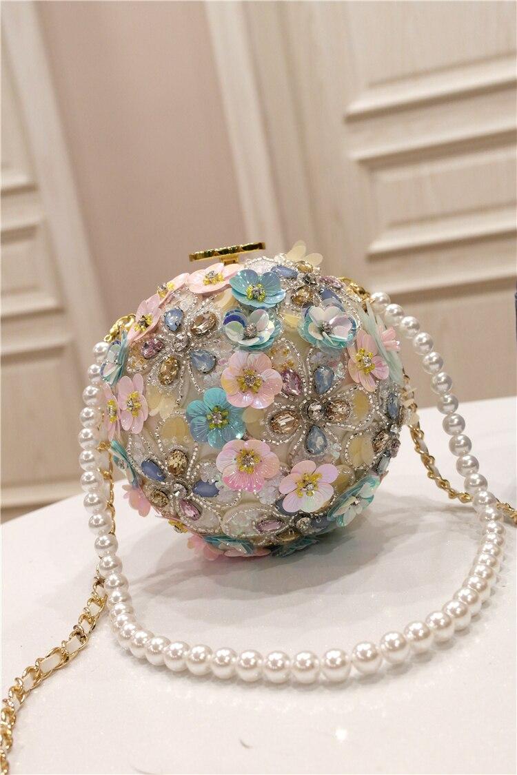 Neue Frühjahr 2009 Chaozhou Mädchen Handgemachte Blume intarsien Diamant Einzelnen Schulter Hand gehalten Geneigt Perle Ball Runde Tasche - 2