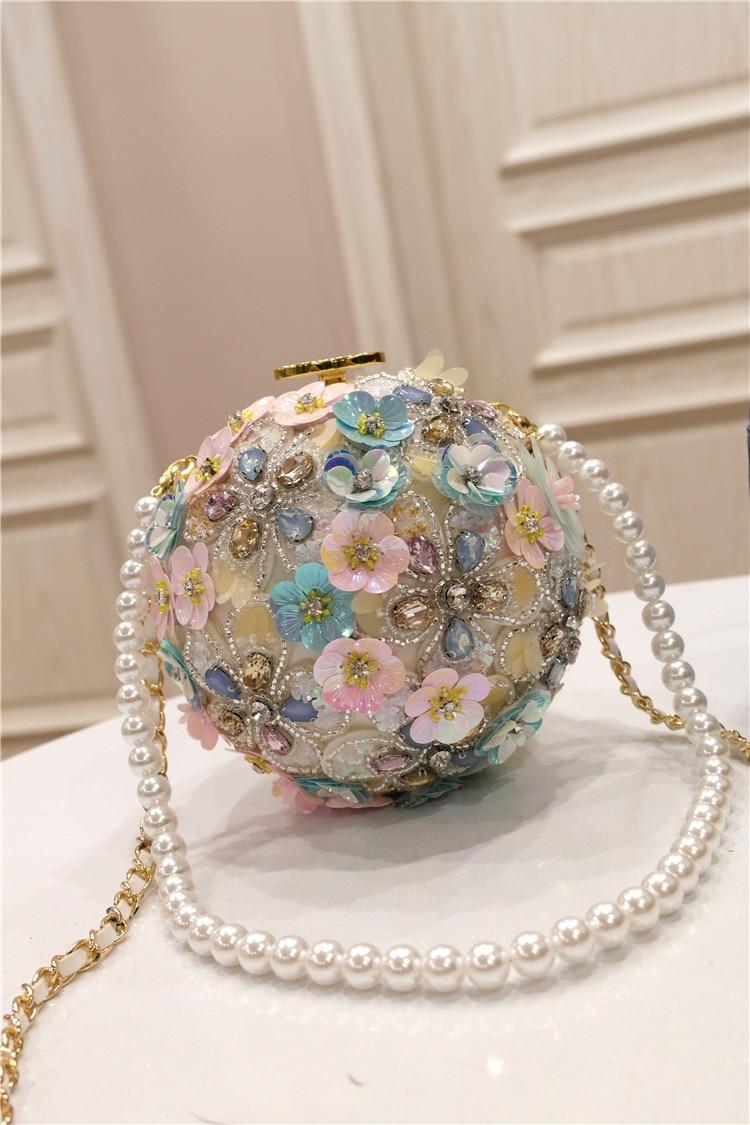 Nuova Primavera del 2009 Chaozhou Delle Ragazze di Fiori Fatti A Mano intarsiato di Diamanti Singolo sacchetto di Spalla Sacchetto di Mano tenuto Inclinato Della Sfera Della Perla Rotonda - 2