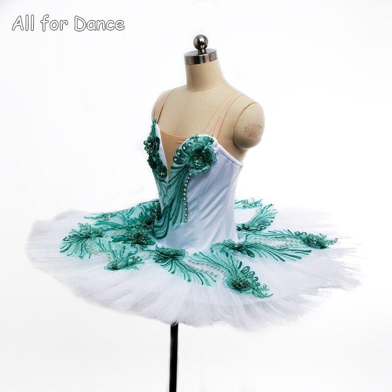1ec48caff1f7f4 € 227.25 |Blanc Spandex Corsage Avec Vert Décorations Ballerine De Danse  Costume Tutu Femmes & Fille Professionnel Classique Crêpe Tutu dans ...