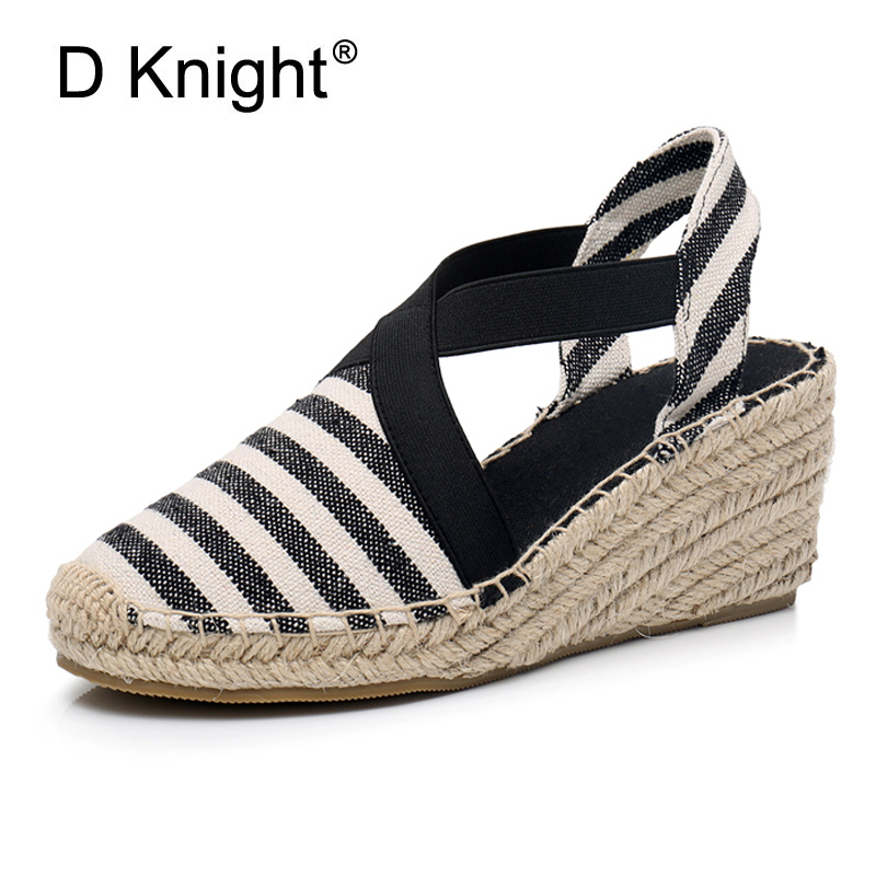 07a32588ab3 Striped Women Espadrilles High Heel Fisherman Sandals Summer Rope Wedges  Sandal Black Blue Red Canvas Beach Platform Shoes Women