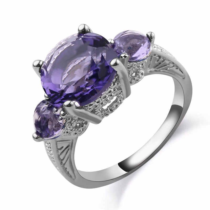 Anillos de ópalo de fuego de Color azul CZ tres redondos a la moda para amantes de la joyería de compromiso femenina llena de plata regalos románticos baratijas