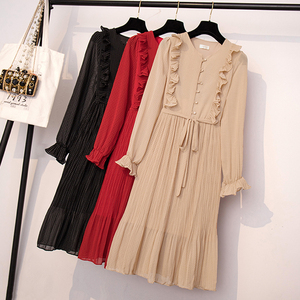 Image 5 - BGTEEVER Vintage O   Neck Ruffles ชุดชีฟองผู้หญิง Flare แขน Polka Dot Lace Up ชุดหญิง 2 ชั้นจีบ Vestidos
