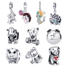 INBEAUT 100% 925 Sterling Silver Lovely Pig Fox Sheep Beads Little Naughty Bear Dog Charms fit Pandora Bracelet Jewelry Making(China)