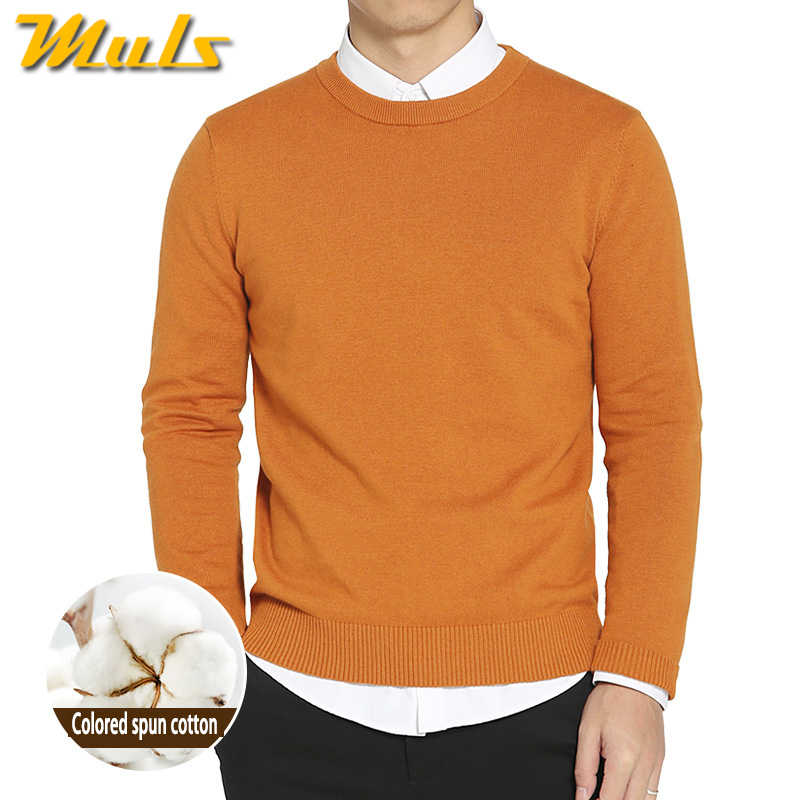 e28c1d41ce4 Топ окрашенная пряжа 100% хлопок свитера для мужчин весна-осень О шеи Мужской  свитера