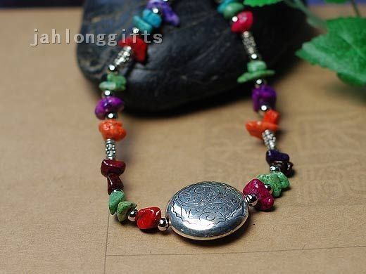 Wholesale Ethnic Tibet Jewelry Tibet Silver Ball + Color Chip Stone Necklace Sweater Pendant 30pcs Mixed Lot Free Shipping