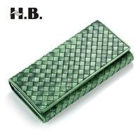 HIBO New Brand 100 Sheepskin Leather High Quality Manual Weave Handmade Women Long Wallet Coin Purse