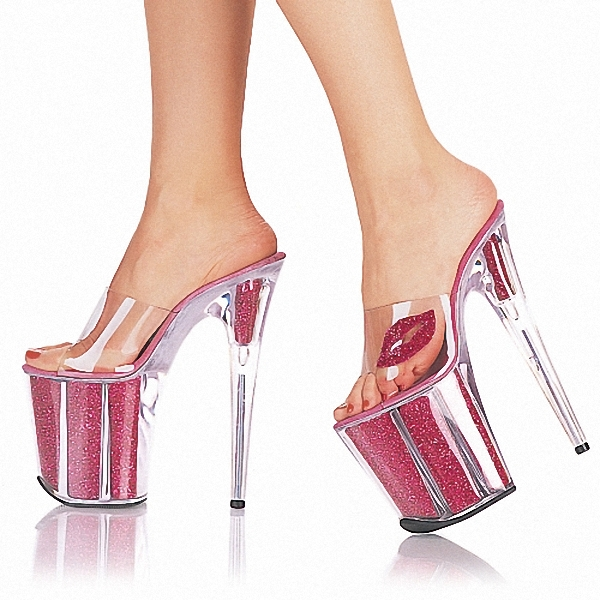 2016 Full Transparent Crystal Formal Dress Sexy Shoes 20cm Ultra High Heel Shoes Fashion 8 Inch Striped High-Heeled Slippers 20cm high heeled shoes sexy shoes full transparent crystal bag sandals performance shoes 8 inch high heeled shoes