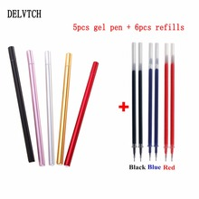 DELVTCH 5colors/set Portable 0.5mm Gel Pen And 6pcs Refill Student School Office Stationery Writing Painting Metal Pens Gift