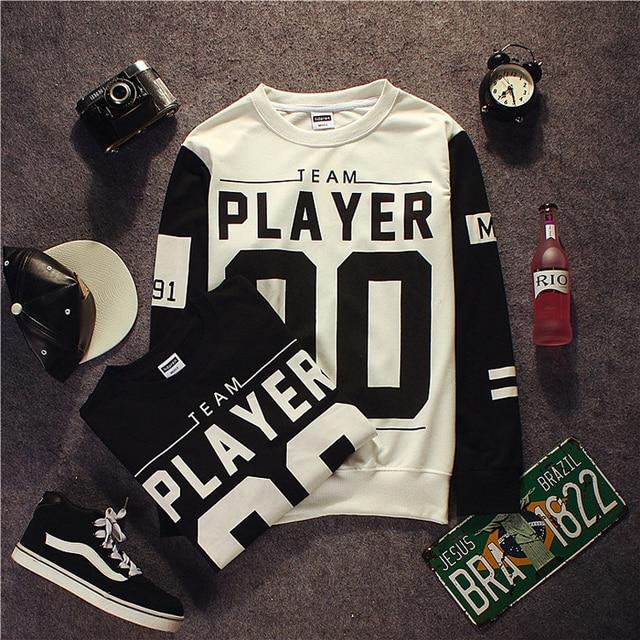 2016 Spring Skateboard Harajuku Sweatshirt Man PLAYER 00 Letter Printed Men Hoodies Long Sleeves Black White Sudaderas Hombre