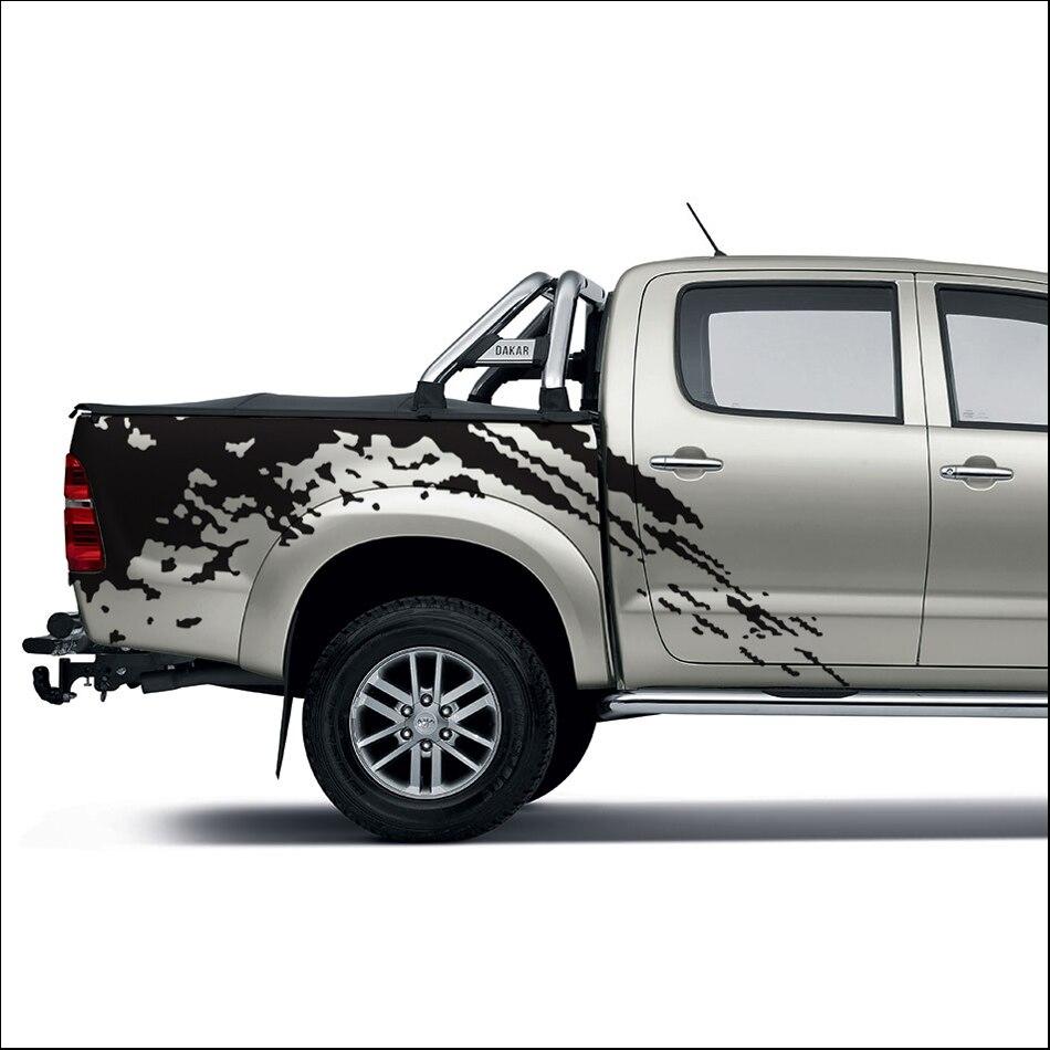 Livraison gratuite 2 pc mudslinger corps arrière queue côté graphique vinyle autocollant de voiture pour TOYOTA HILUX VIGO 2011-2014 accessoires stickers
