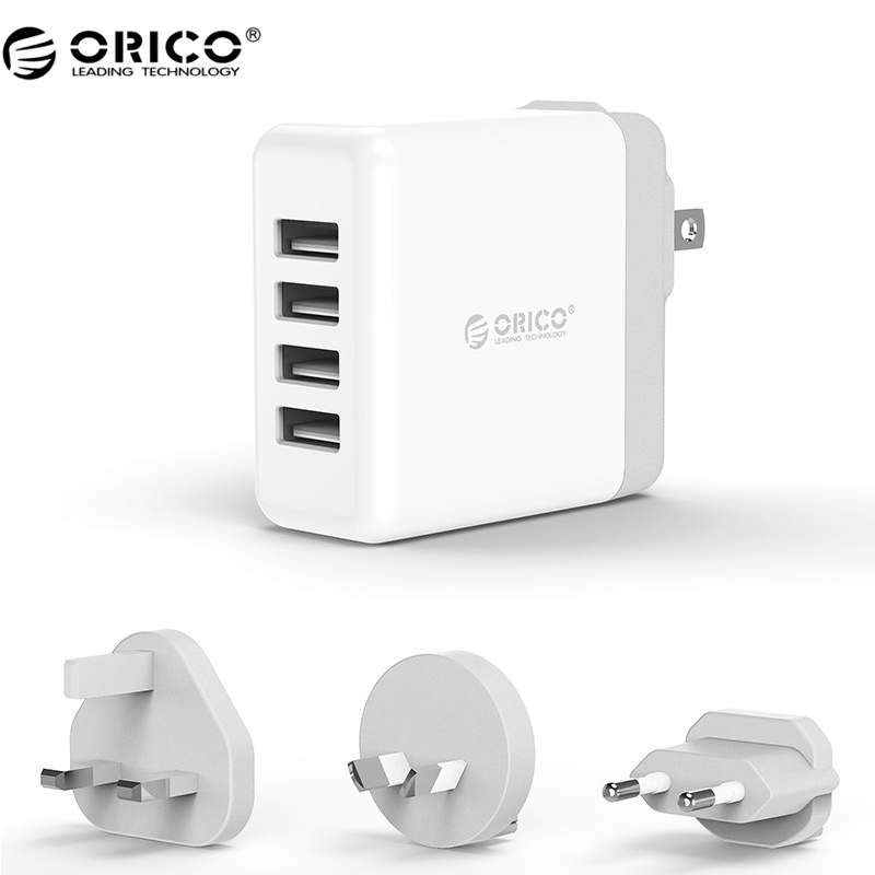 ORICO Global Portable USB Charger 4 Ports Travel Charger with Converter USB Super Charger 5V6.8A34W Wall Charger EU/US/UK/AU
