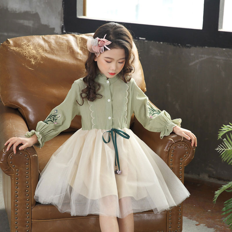 2018 kids dresses for girls party vintage elegant Baby girl princess dress long sleeve wedding bridesmaid children costume 3-11Y floral dresses children crochet girls baby kids clothing 3 4 sleeve princess lace tutu brief party mini white dress girl 2 11y
