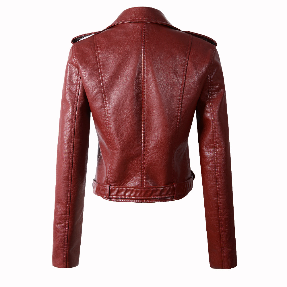 New Fashion Women Autunm Winter Black Faux Leather Jackets Lady Bomber Motorcycle Cool Outerwear Coat with Belt Hot Sale 17
