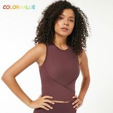 купить Colorvalue Stretchy Rib Knit Fabric Workout Fitness Crop Top Women Slim Fit O-neck Yoga Gym Athletic Tank Top Running Vest XXS-L по цене 1104.77 рублей